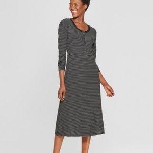 Striped Long Sleeve Scoop Neck Rib Midi Dress